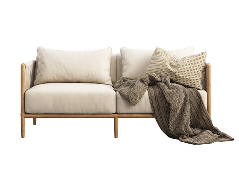 Light beige fabric sofa with pillow and plaid. 3d render