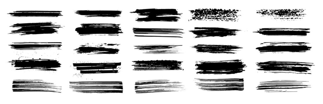 Thin and dirty brush stroke set. Grunge splashes stencil, very detailed texture and high quality manually tracked. Black ink splatter with brush strokes set. Silhouettes dirty liquid brushes. Vector
