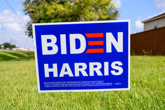 Biden Harris election signs are seen in many residential areas in Texas