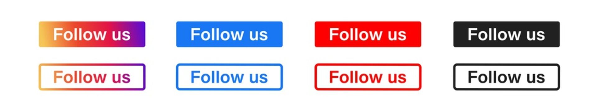 Follow us vector button. Social media network concept. Set icon in flat and gradient style