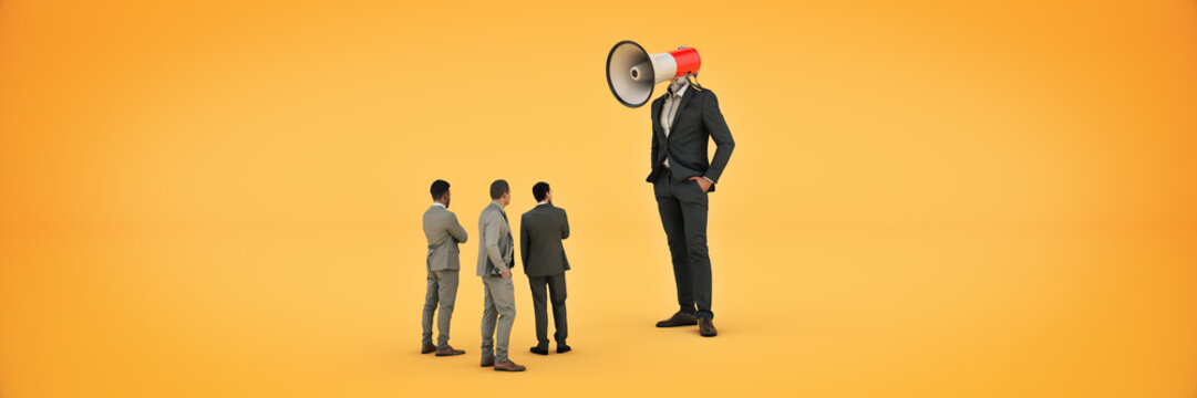 businessman with a megaphone instead of his head. 3d rendering
