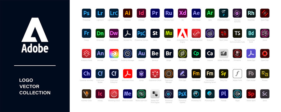 Adobe product.  Logotype set of adobe products: adobe, creative cloud, illustrator, photoshop, indesign, after effects, lightroom. Editorial vector illustration. Vinnitsa, Ukraine - September 27, 2020