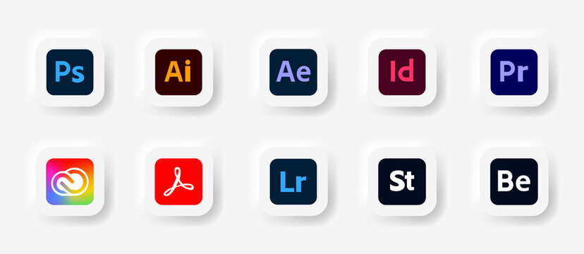 Adobe Creative Cloud product. icon set vector: adobe, creative cloud, illustrator, photoshop, indesign, after effects, lightroom. Editorial vector illustration. Vinnitsa, Ukraine - September 27, 2020