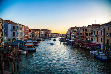 View of the Grand Canal in Venice with sun falling on horizon