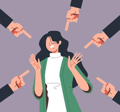 Bulling blaming emotional stress woman. Social problems concept. Vector flat graphic design illustration