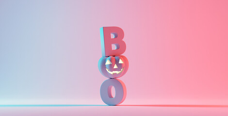 Door stickers Wall Decor With Your Own Photos Boo! Happy Halloween day, lettering design with smiling pumpkin character on orange background, Trick or Treat, 3d render.