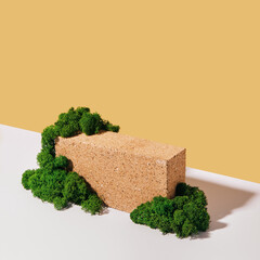 Mockup podium made of Brick and moss for products and accessories. Biophilic design, isometric view