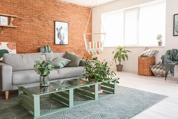 Deurstickers Graffiti collage Interior of living room with stylish hammock