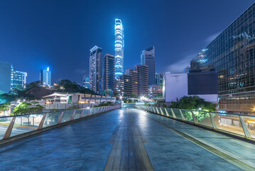 Skyline of downtown of Hong Kong city at night Fotomurales