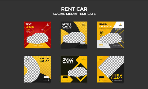 Luxury Rent a car for social media  post banner template Set