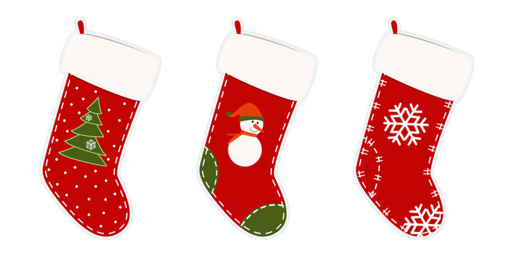 Christmas stockings. Stickers, clipart for xmas. Red, green socks with snowflakes, snowman, Christmas tree. Hanging stockings isolated on white background. Vector illustration. Holiday gifts