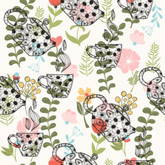 pattern with decorative teapots and cups on Floral background