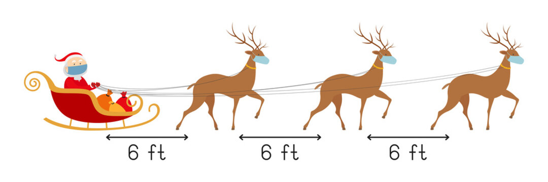 Safe distance 6 feet. Santa and reindeers in face masks. Vector illustration.