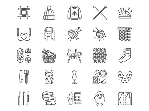 Knitting flat line icons set. Crochet, hand made scarf, wool ball, thread and needle vector illustrations. Outline signs of diy tools, atelier, editable stroke