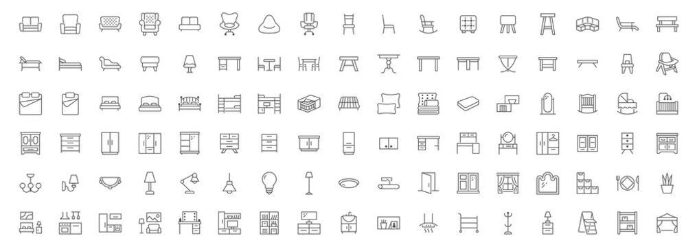 Furniture flat line icons set. Kitchen, bedroom, sofa table, bookcase closet, chair, mattress, lamps, ladder vector illustrations. Outline signs of house interior, editable stroke