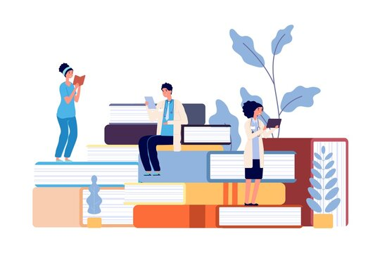 Medical school students. Doctors studying, hospital staff reading books. Refresher courses for nurse, healthcare professor college vector illustration. Medical study, medicine and health