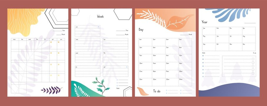 Planners set. To do lists, weekly and daily schedule template, year plan form vector illustration. Organizer calendar, to do paper list, weekly and year
