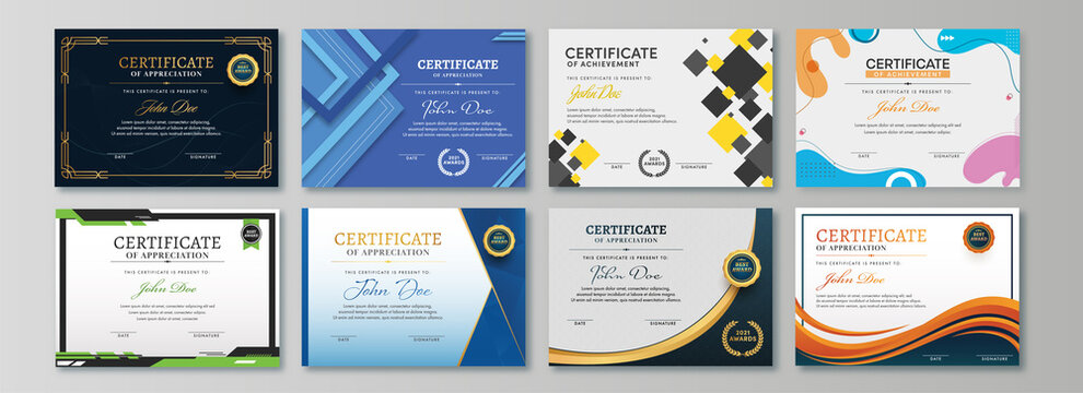 Appreciation & Achievement Certificate Template Design in Eight Options.