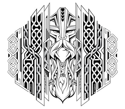 Viking head with ornaments as tattoo illustration