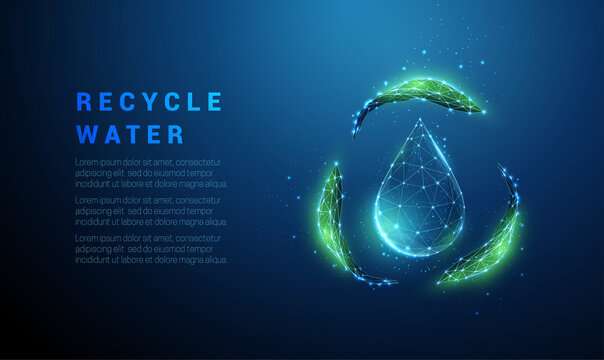 Falling drop of water with recycle symbol from green leafs