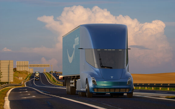 Tesla's new electric semi truck with a trailer bearing the Amazon Prime logo