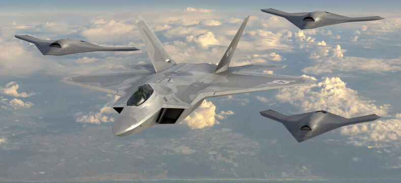 Lockheed Martin F-22 Raptor in a formation with combat drones from the Loyal Wingman program, artistic vision.