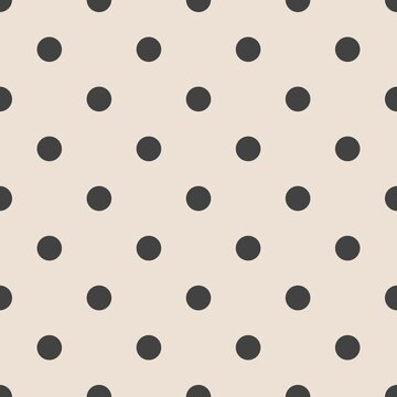 Tile vector pattern with black polka dots on pink background for seamless decoration wallpaper