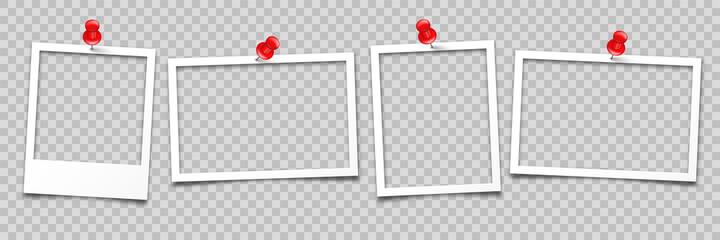 Fototapeta Realistic empty photo card frame, film set. Retro vintage photograph with push pin. Digital snapshot image. Template or mockup for design. Vector illustration. obraz