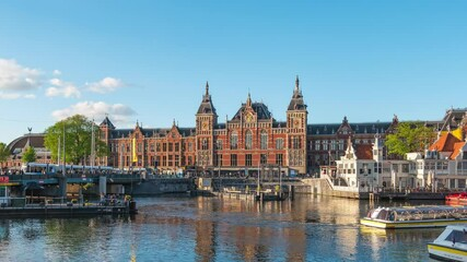 Wall Mural - Amsterdam cityscape with central station in Netherlands
