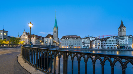 Wall Mural - Night view of Zurich city with view of Fraumunster church in Switzerland