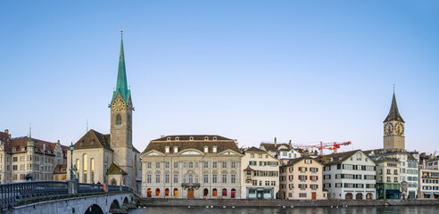 Wall Mural - Panorama view of Zurich city skyline with view of Fraumunster church in Switzerland
