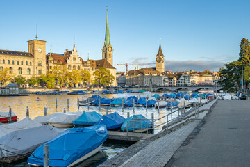 Wall Mural - Limmat River with view of landmark building in Zurich, Switzerland