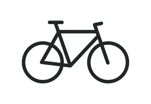 Bicycle icon silhouette. Bike sport shop logo sign. Biking trail symbol shape. Vector illustration image. Isolated on white background.