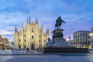 Wall Mural - Duomo of Milan with nice sky at twilight time in Milan, Italy