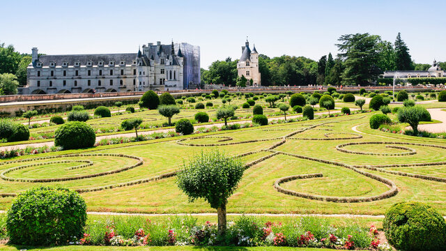 CHENONCEAUX, FRANCE - JULY 8, 2010: view of garden of castle Chateau de Chenonceau. The current palace was built in Indre-et-Loire departement of Loire Valley in 1514-1522