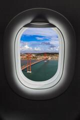 Lisbon Portugal in airplane window