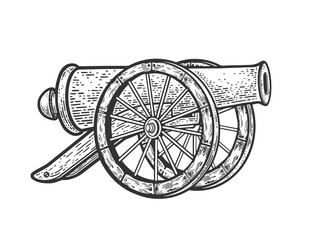 Vintage cannon sketch raster illustration