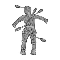 Straw dummy with arrows sketch raster illustration