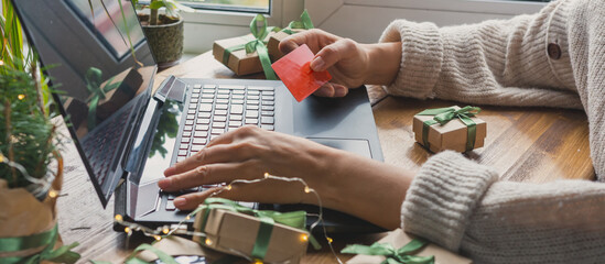 Christmas online shopping, sales and discounts promotions during the Christmas holidays, online...