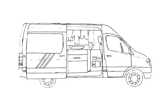Black and white hand drawn sketch of open living van. Van life. Illustration.