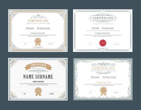 set achievement certificate flourishes elegant vintage vector template