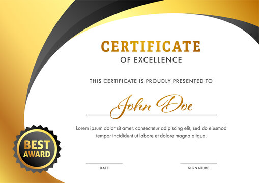 Editable Certificate of Excellence Template Layout in Golden and White Color.