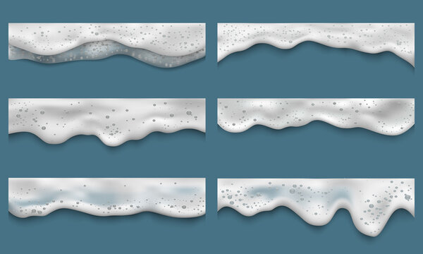 Water foam. Clean washing liquids bath laundry drops splashes on seaside top view vector realistic templates. Shampoo foam, cream soap washing illustration