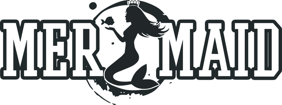 Mermaid logotype monochrome template isolated on white background. Mermaid logo design. Vector vintage illustration. t-shirt design. clothing design.