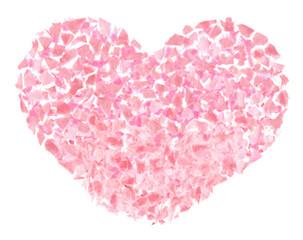 ピンクの花びらで作ったハート