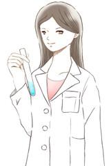 試験管を持つ白衣を着た研究員の女性