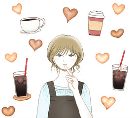 女性カフェオーナーとコーヒーとハートのクッキー
