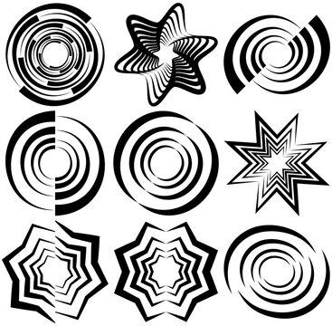 black abstract contour, outline logo shape, design element (set)