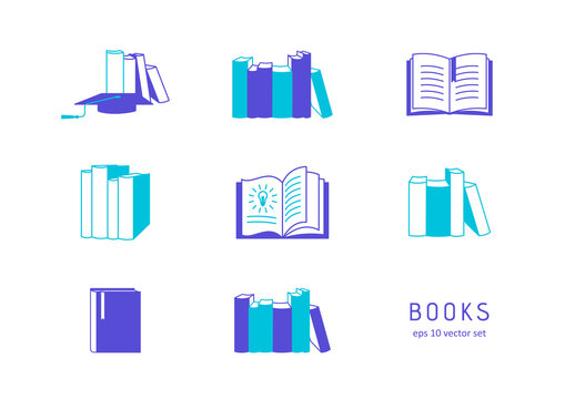 Books - vector icons set on white background.