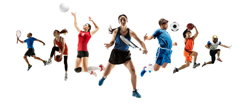 Collage of different professional sportsmen, fit men and women in action and motion isolated on white background. Made of 5 models. Concept of sport, achievements, competition, championship.